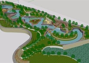 详细的完整公园景观设计SU(草图大师)模型