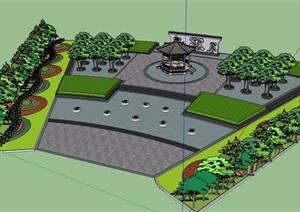 古典中式风格广场景观设计SU(草图大师)模型