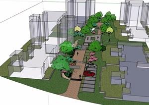住宅中庭小区景观设计SU(草图大师)模型