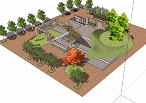 现代休闲小广场景观设计SU(草图大师)模型