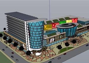 某现代风格购物中心建筑设计SU(草图大师)模型