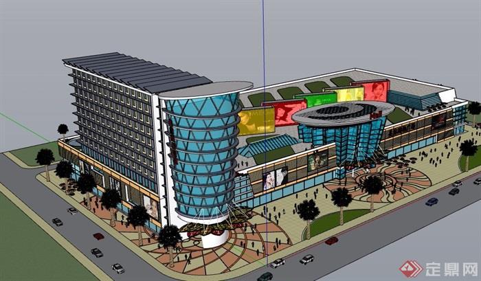 某现代风格购物中心建筑设计su模型