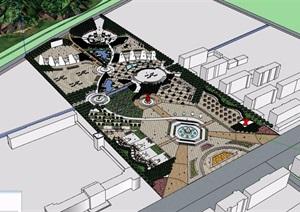 某整体详细的完整广场景观设计SU(草图大师)模型