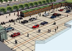 某广场详细的景观设计SU(草图大师)模型