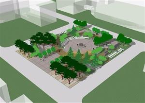 某详细的完整整体广场景观素材设计SU(草图大师)模型