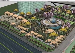 某详细的广场完整景观素材设计SU(草图大师)模型