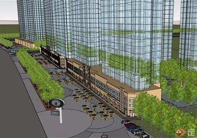 某現代多層商業建筑設計su模型