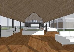 现代简约透明性轻盈建筑公园文化长廊文化展示中心