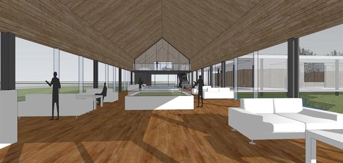 现代简约透明性轻盈建筑公园文化长廊文化展示中心(1)