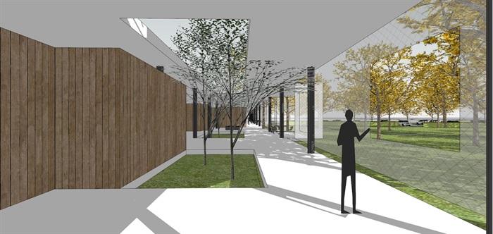 现代简约透明性轻盈建筑公园文化长廊文化展示中心(2)