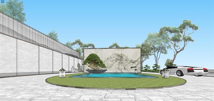 现代经典高端典雅风坡屋顶住宅示范区售楼处交流中心(1)