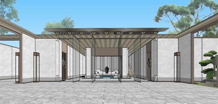 现代经典高端典雅风坡屋顶住宅示范区售楼处交流中心(3)