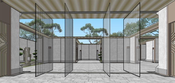 现代经典高端典雅风坡屋顶住宅示范区售楼处交流中心(4)