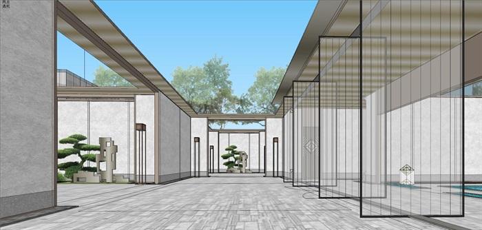 现代经典高端典雅风坡屋顶住宅示范区售楼处交流中心(5)