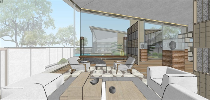 现代经典高端典雅风坡屋顶住宅示范区售楼处交流中心(6)