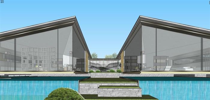 现代经典高端典雅风坡屋顶住宅示范区售楼处交流中心(9)