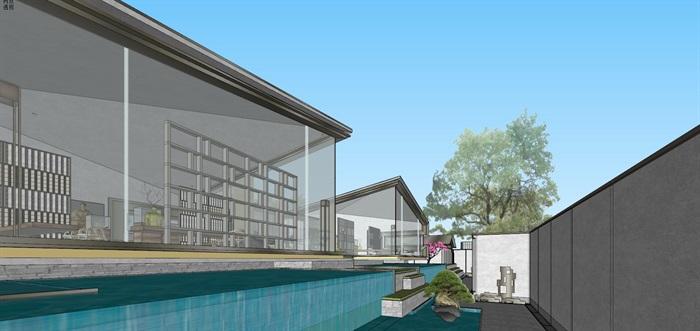 现代经典高端典雅风坡屋顶住宅示范区售楼处交流中心(10)