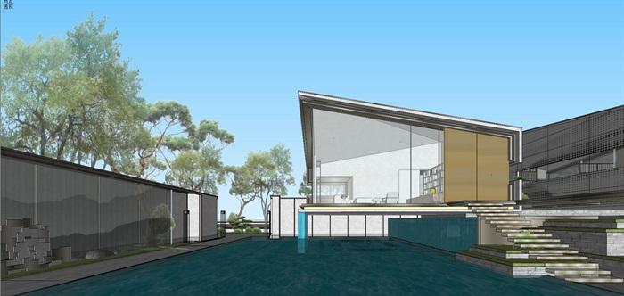 现代经典高端典雅风坡屋顶住宅示范区售楼处交流中心(11)