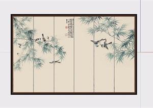 详细的中式室内背景墙素材设计SU(草图大师)模型