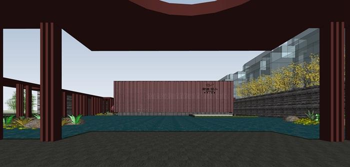 红色穿孔金属板表皮售楼处示范区展示中心(4)