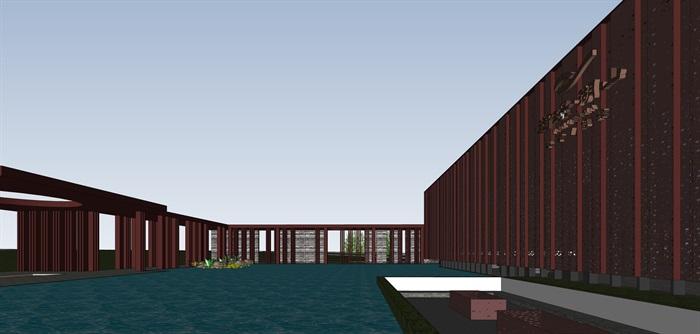 红色穿孔金属板表皮售楼处示范区展示中心(7)