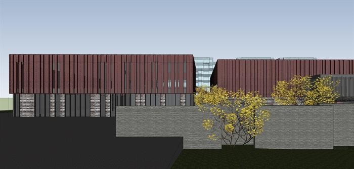 红色穿孔金属板表皮售楼处示范区展示中心(8)