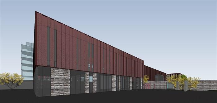 红色穿孔金属板表皮售楼处示范区展示中心(9)