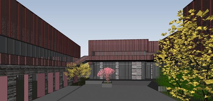 红色穿孔金属板表皮售楼处示范区展示中心(10)