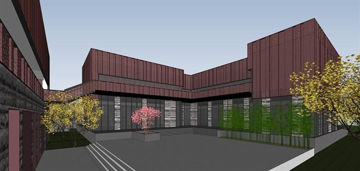 红色穿孔金属板表皮售楼处示范区展示中心(11)