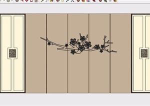 简单的室内背景墙素材设计SU(草图大师)模型