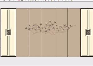 中式背景墙素材设计SU(草图大师)模型