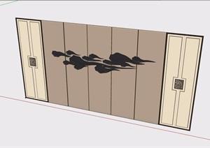 某室内电视背景墙素材设计SU(草图大师)模型
