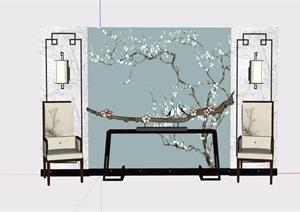 中式详细的完整背景墙素材设计SU(草图大师)模型