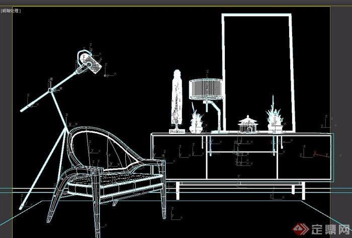详细的室内椅子、柜子、灯饰组合设计3d模型