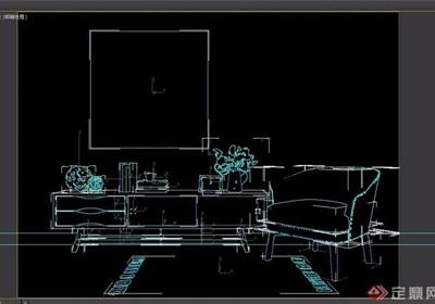 详细的电视柜及椅子组合设计3d模型