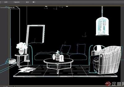 欧式沙发茶几装饰鸟笼组合3D模型