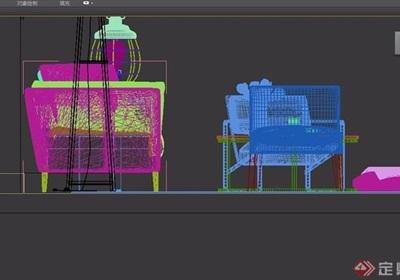 现代沙发组合休闲椅3D模型