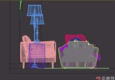 某整体详细的完整沙发茶几素材3d模型