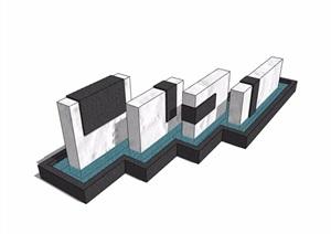现代详细的完整水景素材设计SU(草图大师)模型