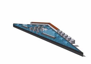 现代三角形喷泉水池水景素材设计SU(草图大师)模型