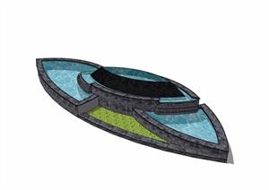 现代详细的完整水池水景素材设计SU(草图大师)模型