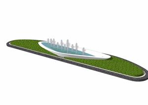 现代详细的独特喷泉水景及种植池设计SU(草图大师)模型