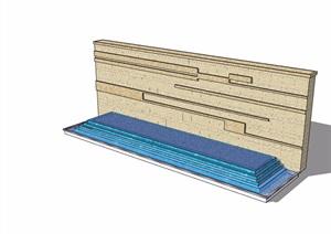 现代详细的水池水景墙素材设计SU(草图大师)模型