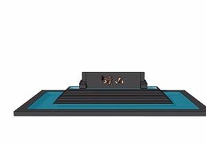现代风格详细的水景水池设计SU(草图大师)模型