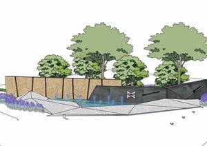 现代喷泉水景墙及种植池设计SU(草图大师)模型