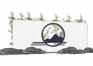 中式景墙详细的完整设计SU(草图大师)模型