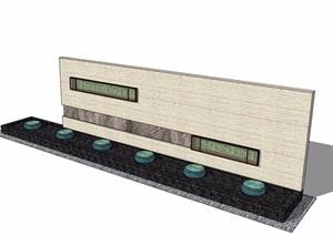 中式详细的完整景墙素材设计SU(草图大师)模型