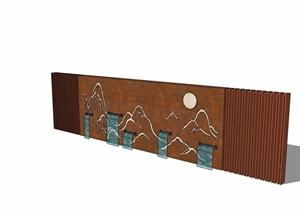 中式详细的完整景墙节点素材设计SU(草图大师)模型