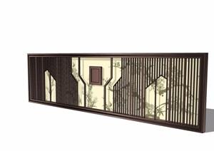 中式独特完整的景墙素材设计SU(草图大师)模型