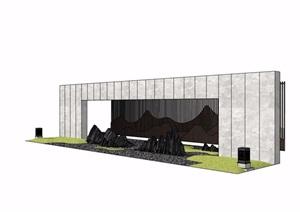 新中式山水景墙独特设计SU(草图大师)模型